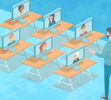 illustration of laptops sitting on desks while students video call in