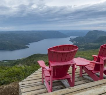two chairs overlooking gros morne park