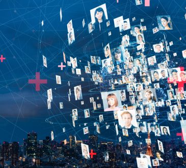 pictures of people's faces floating in virtual network concept