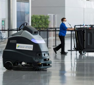 cleaning worker in airport