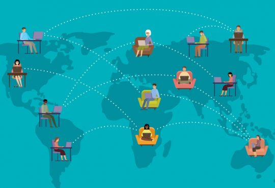 illustration of map showing people working remotely in different places