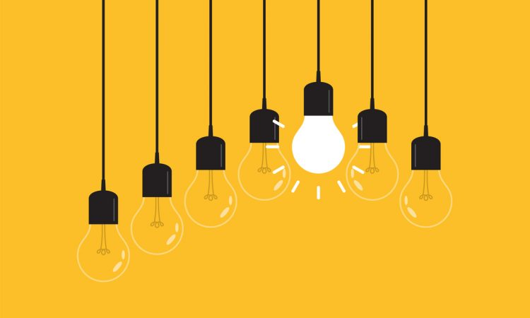 illustration of light bulbs hanging from wires