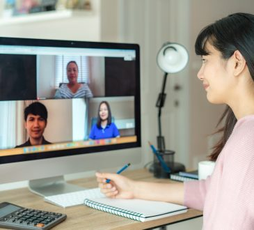woman on group video call