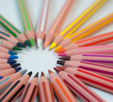 colourful pencil crayons arranged in a circle