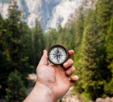 closeup of hand holding compass in forest