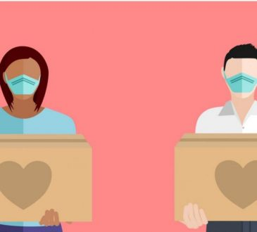 illustration of two masked people holding boxes with hearts on them