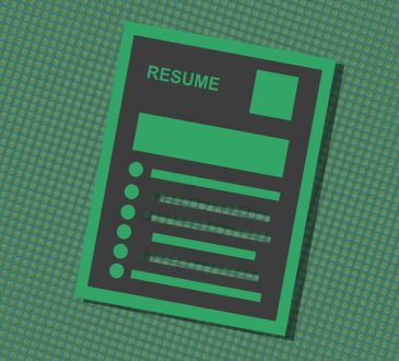 graphic of resume on green background