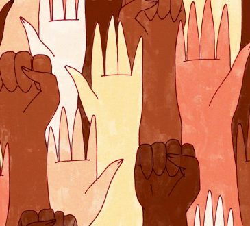 illustration of An array of hands, mostly black and POC, and some white, some holding the black power first.