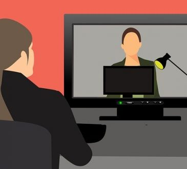 illustration of woman participating in video interview