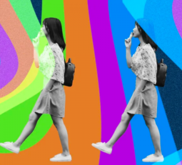 photo illustration with retro background and woman walking