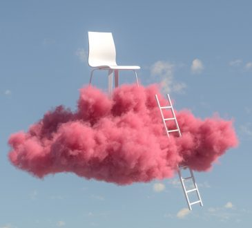 chair on pink cloud in sky