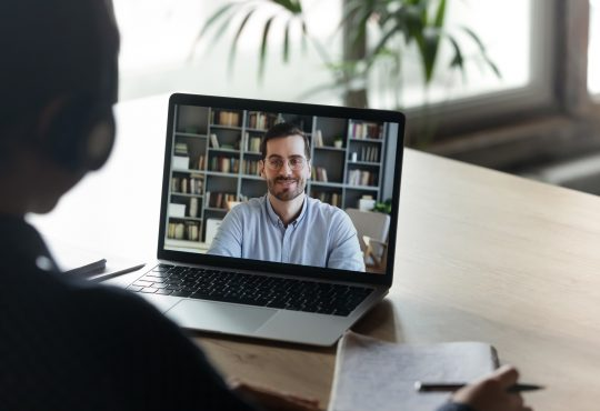man having video call