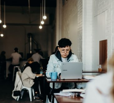 person working in a cafe