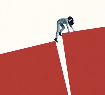 photo illustration of woman climbing up hill with large crack in middle