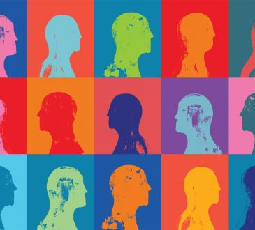 silhouettes of heads in pop art style grid