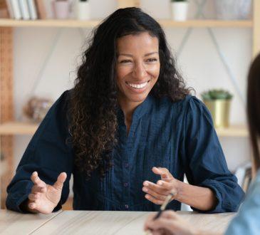 woman recruiter speaking to interviewee