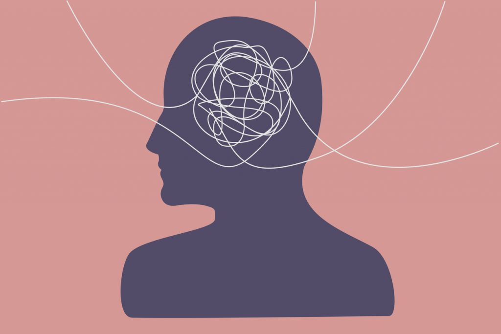 Several lines from different directions that tangle in a person's head, flat illustration.