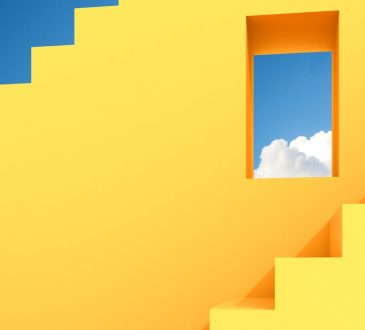 Minimal abstract building space with square window and staircase on blue sky background