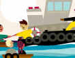 illustration of tugboat with person holding out rope to other person on smaller boat behind it
