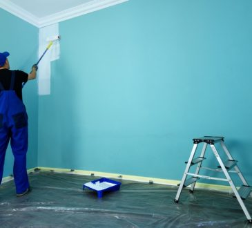 main painting blue wall white inside house