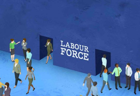 illustration of women exiting door marked labour force as men walk in another