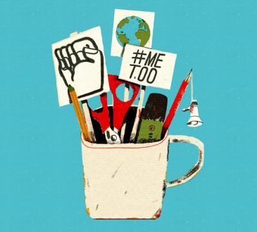illustration of coffee mug filled with office supplies and protest signs