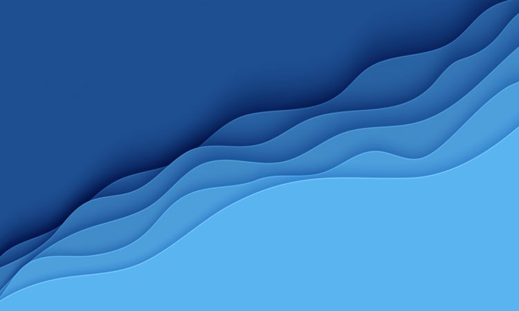 Blue abstract background in paper cut style mimicking waves