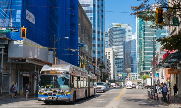 bus in downtown vancouver