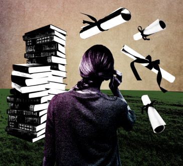 photo illustration of woman looking at stack of books and floating diplomas