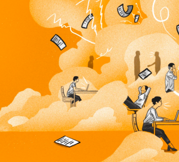 illustration of people working amid orange, cloudlike background with papers flying around