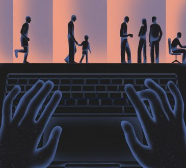 illustration of hands typing with people walking across computer screen