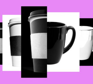 black and white coffee cups on purple background
