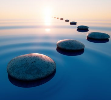 Row of stones in calm water