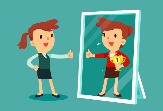 illustration of businesswomen standing in front of a mirror looking at her reflection and imagine herself successful.