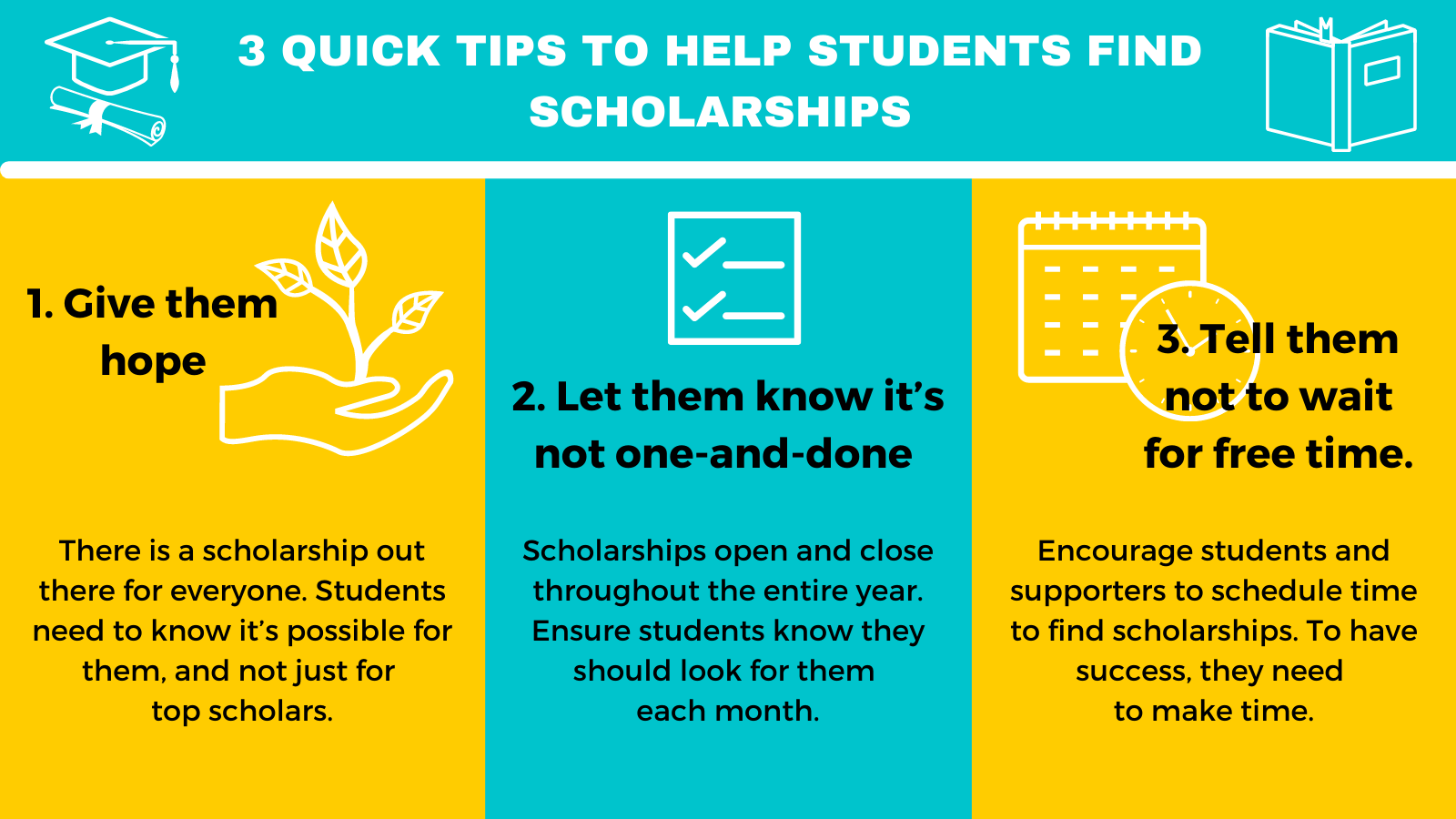 Infographic containing 3 quick tips to help students find scholarships: 1. Give them hope. 2. Let them know it's not a one-and-done. 3.  3. Tell them not to wait for free time.