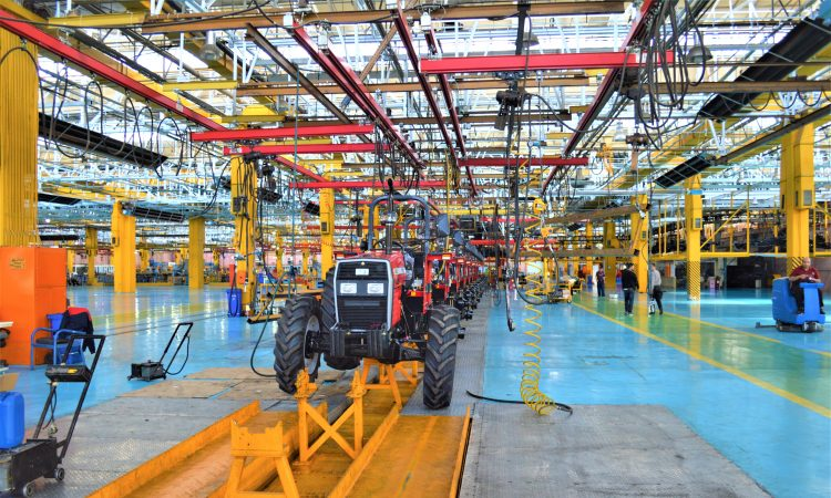 tractor on assembly line in factory