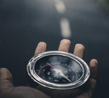 compass in open palm