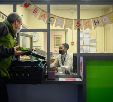 Restored laptops being delivered to Elm Wood primary school in south London.