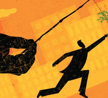 illustration of large hand dangling carrot from stick in front of businessman