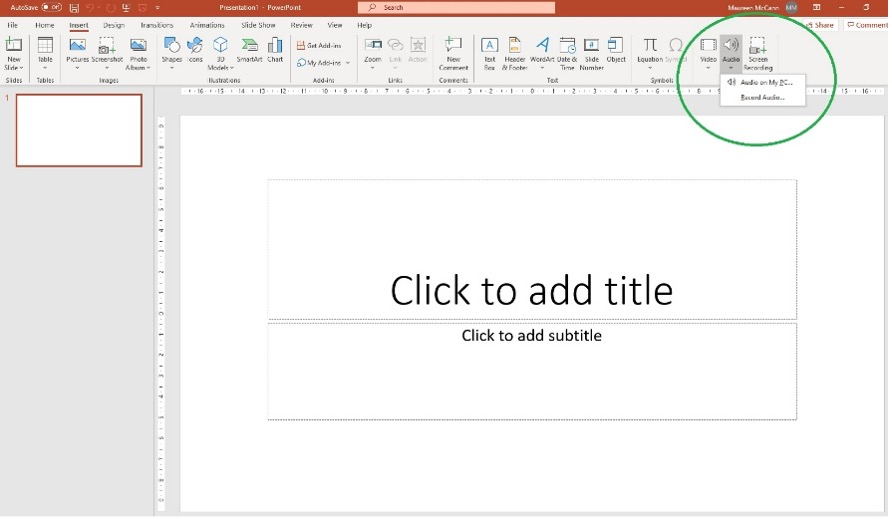 PowerPoint with audio button selected