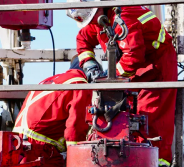 oil and gas workers on rig