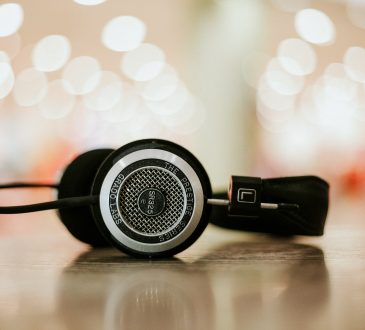 headphones sitting on table