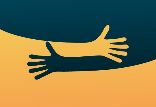 illustration of hugging hands