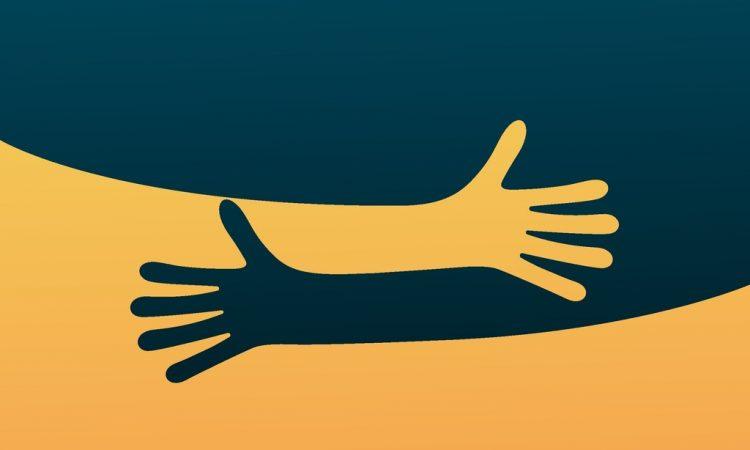 illustration of hugging hands