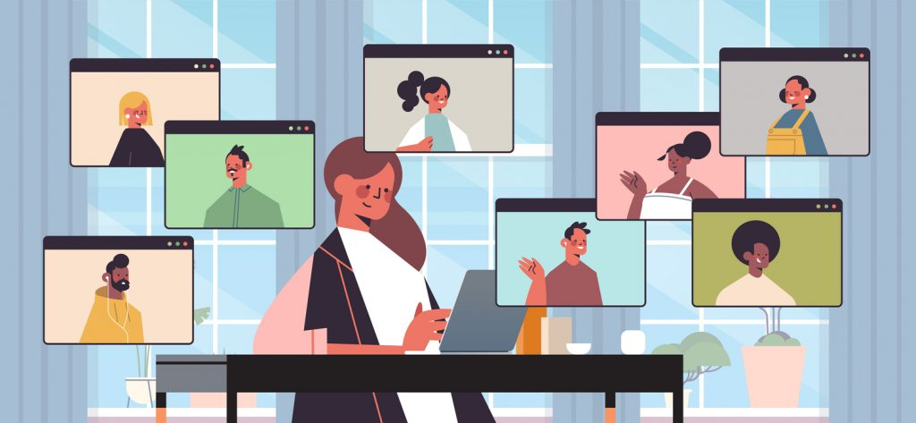 illustration of businesswoman chatting with colleagues during video call