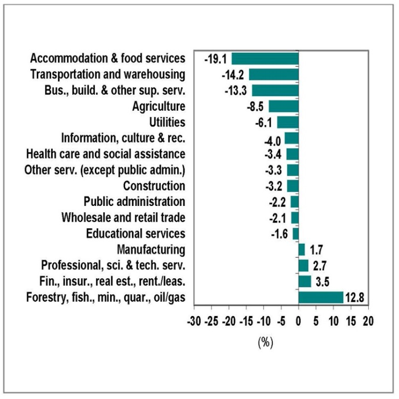 Chart showing industries by employment change in Ontario, February 2020 to November 2020