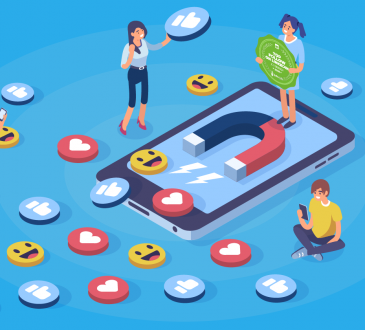 illustration of people standing on tablet surrounded by social media icons of likes and smiley faces