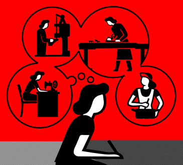 black and red illustration of woman sitting with thought bubbles showing different careers
