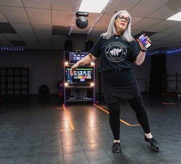 Owner of The Workshop Dance Studio, Nancy Morgan, gives a tap dance class via video in Kemptville Ontario