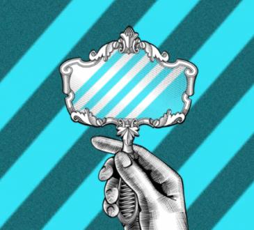 illustration of hand holding mirror